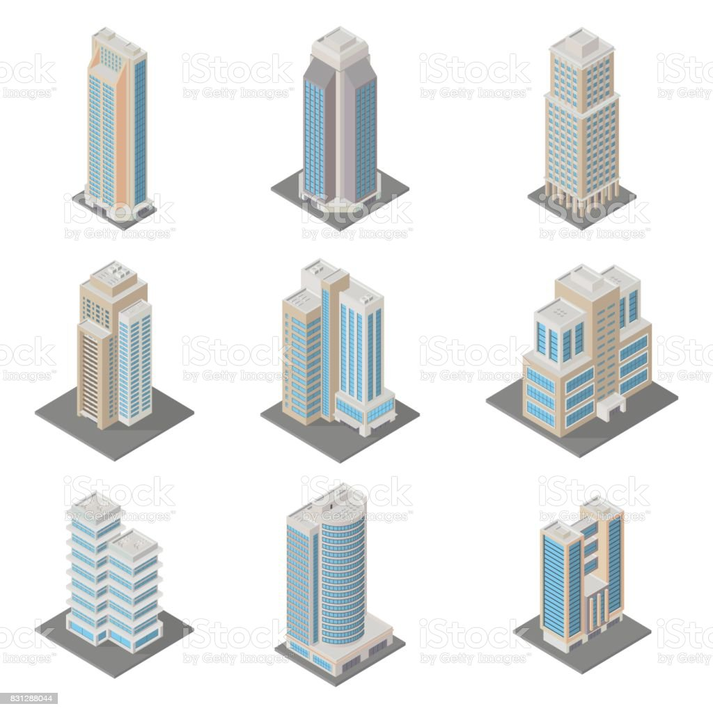 Vector Isometric City Infrastructure Architecture Map Generator Icon Set  Ofice Apartment Buildings 3d Elements Representing Low Poly Building Stock