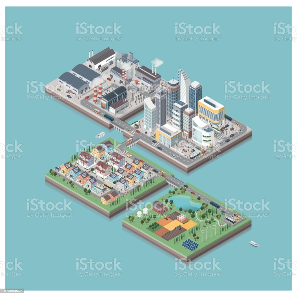 Vector isometric city isles with people and vehicles vector art illustration