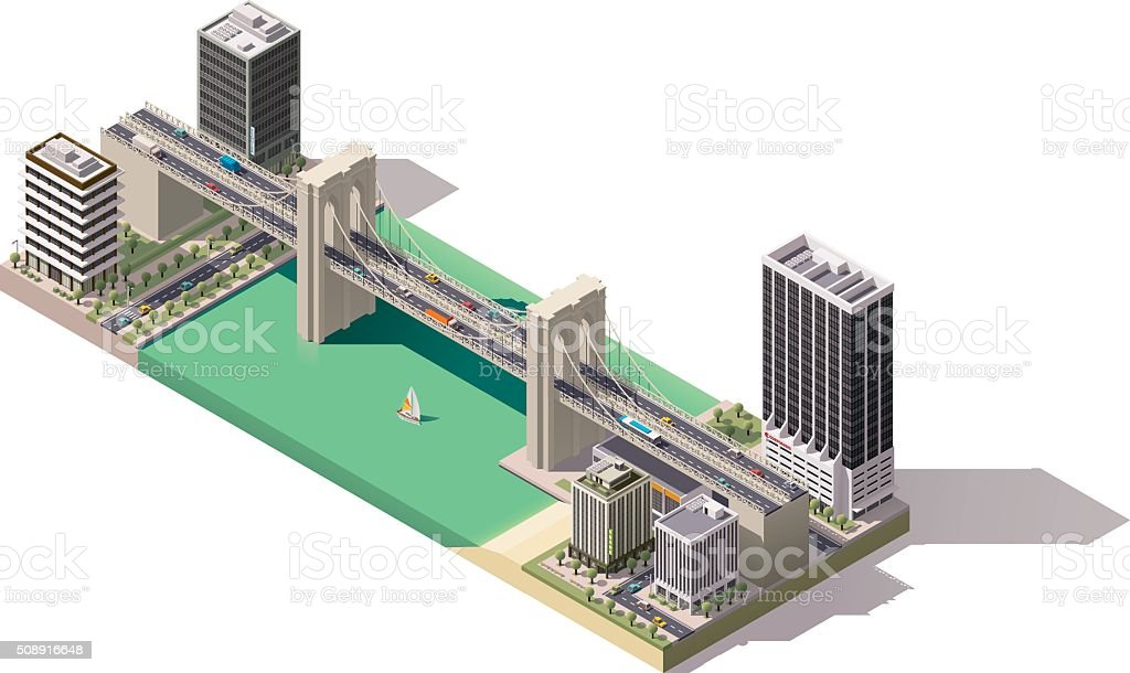 Vector isometric city map vector art illustration