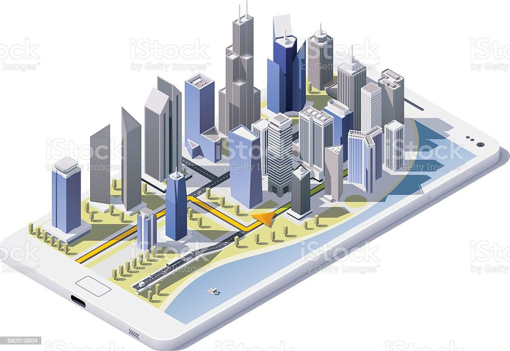 Vector isometric city navigation icon vector art illustration