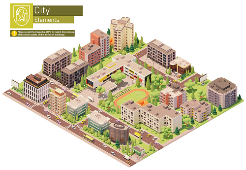 Vector isometric city or town block with school