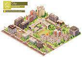 istock Vector isometric city or town block with school 1297800173