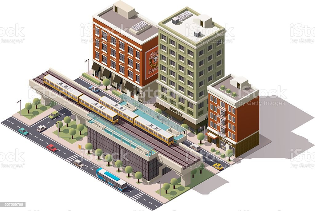 Vector isometric city train station vector art illustration