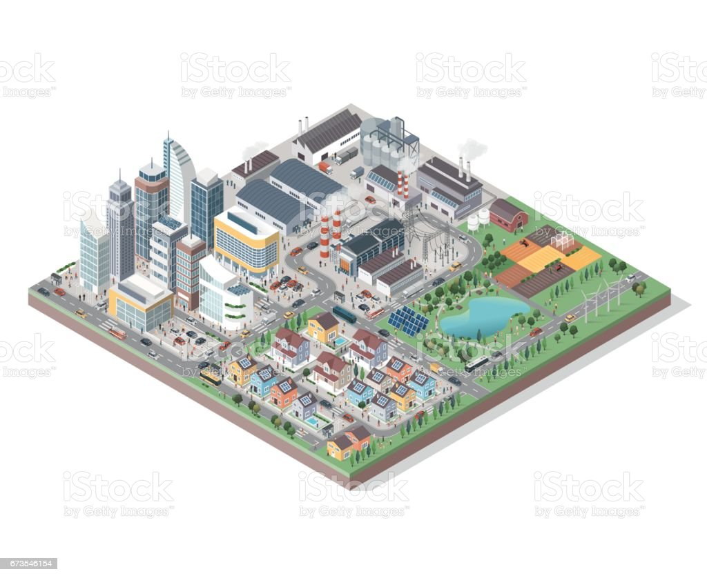 Vector isometric city with buildings, people and vehicles vector art illustration