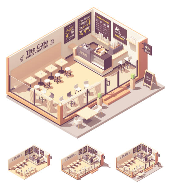 Vector isometric coffee shop or coffeehouse vector art illustration
