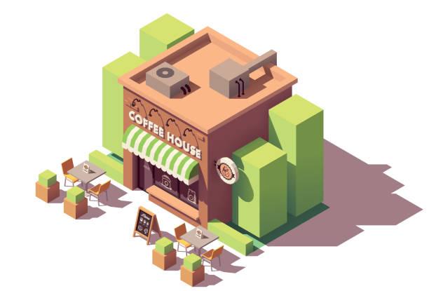 ilustrações de stock, clip art, desenhos animados e ícones de vector isometric coffee shop - coffe shop