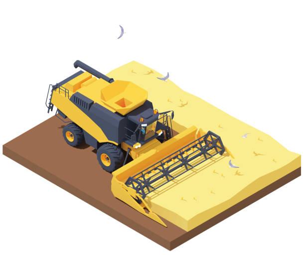 Vector isometric combine harvester in wheat field vector art illustration