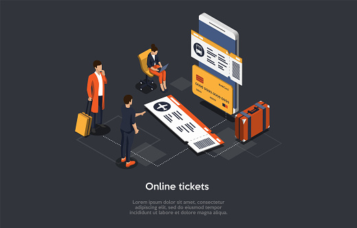 Vector Isometric Composition With Infographics. 3D Cartoon Style Illustration With Characters And Objects. Online Tickets Ordering Concept. Big Smartphone, People With Luggage Standing Near Choosing.