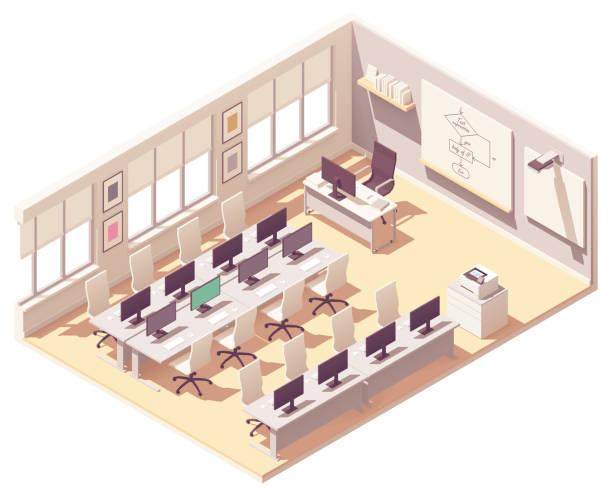 Vector isometric computer lab classroom vector art illustration