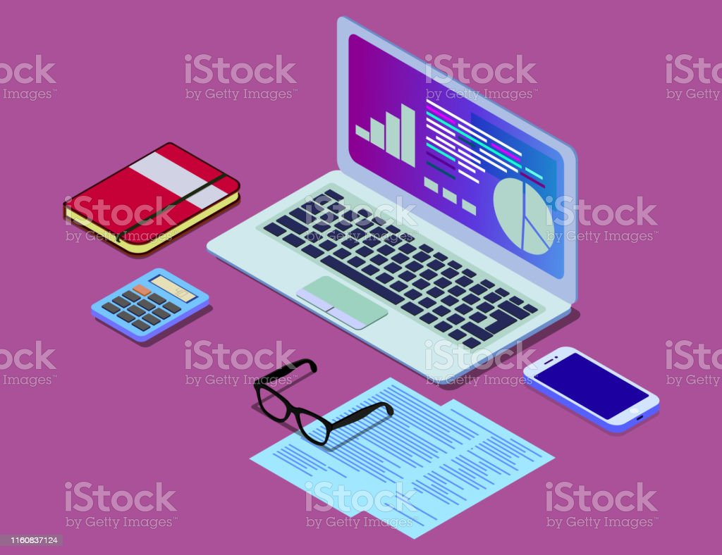 Vector isometric concept illustration of office work station. Desktop...