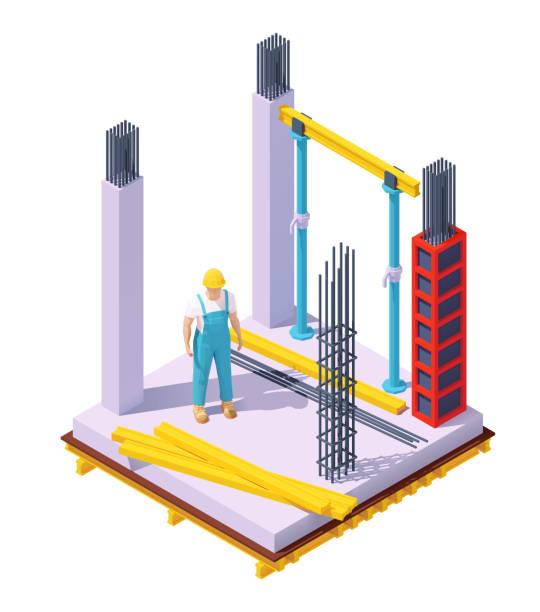 bildbanksillustrationer, clip art samt tecknat material och ikoner med vector isometrisk betongbyggnad konstruktion - construction workwear floor
