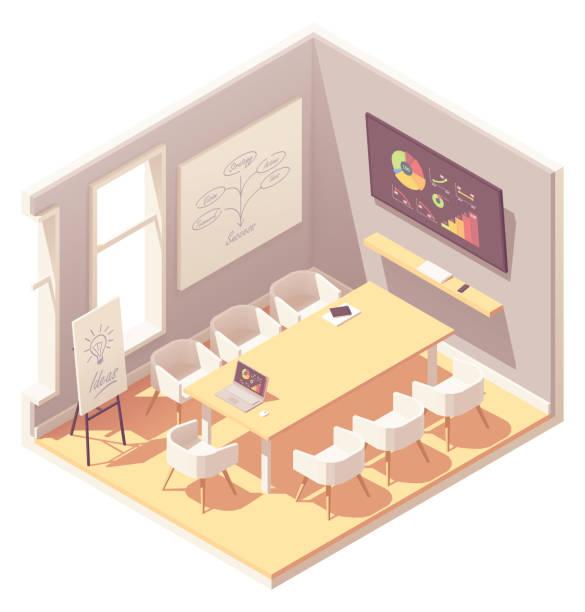 ベクトル等尺性会議室 - 会議室点のイラスト素材/クリップアート素材/マンガ素材/アイコン素材