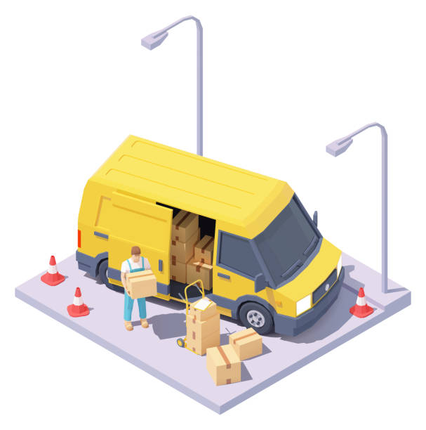 Vector isometric courier with parcels and delivery van vector art illustration