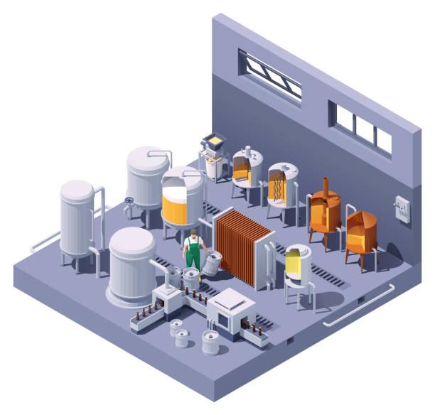 Vector isometric craft beer brewery vector art illustration