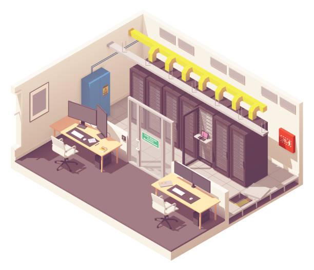 vector isometric data center interior - computer server room stock illustrations