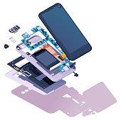 Vector isometric disassembled smartphone. Modern smartphone exploded view. Phone disassembly, teardown, or repair