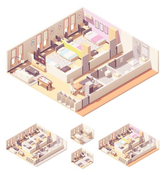 Vector isometric dormitory or dorm room vector art illustration