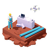 Vector isometric drone survey at construction site. Male Engineer working with drone. Laptop and construction site or in civil engineering project map. Man worker using UAV or unmanned aerial vehicle for land and building site survey