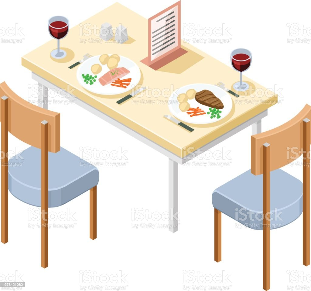 Vector Isometric Eating Out Restaurant Table Icon. vector art illustration
