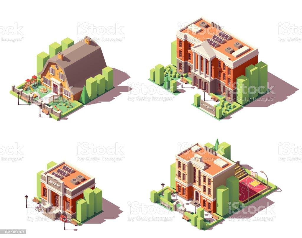 ベクトル等尺性教育建物セット ベクターアートイラスト