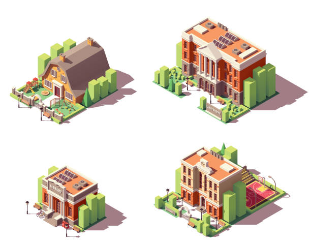 Vector isometric educational buildings set Vector isometric educational buildings set. Includes school, preschool or kindergarten, university and library buildings campus stock illustrations