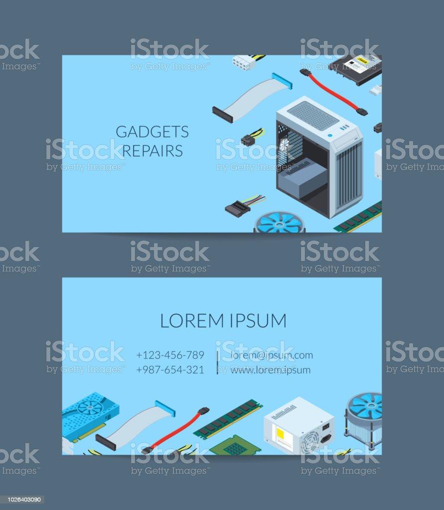 Modle De Carte Visite Disomtrique Appareils Lectroniques Vecteur