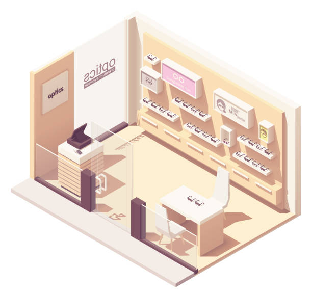 Vector isometric eyewear store vector art illustration