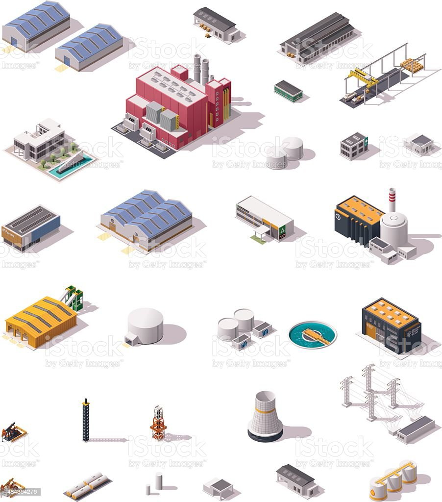 Vector isometric factory buildings set vector art illustration