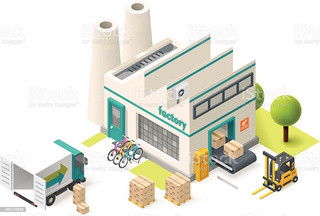 Vector isometric factory vector art illustration