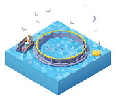 Vector isometric feeding fish at fish farm. Fish farm worker in inflatable boat feeding fish throwing fish food into floating round fish cage in the sea