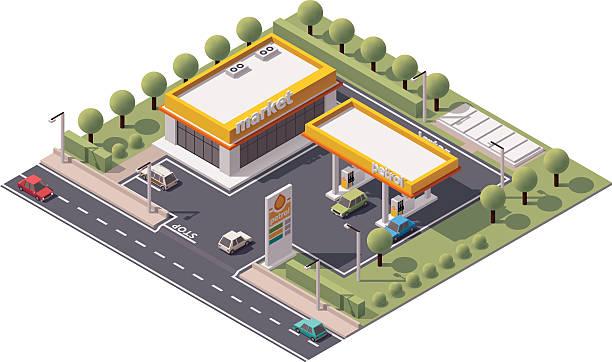 ilustrações, clipart, desenhos animados e ícones de vetor isometric estação de preenchimento - garage
