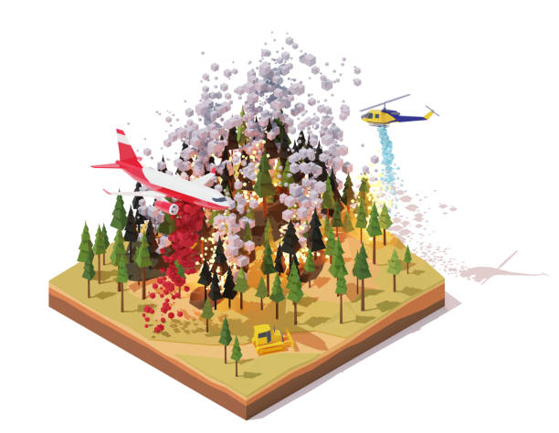 Vector isometric firefighting airplane and helicopter fighting wildfires vector art illustration