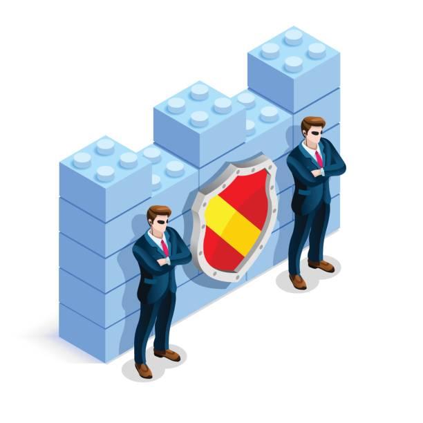 vektor isometrische firewallschutz cyber-kriminalität - abwehr stock-grafiken, -clipart, -cartoons und -symbole