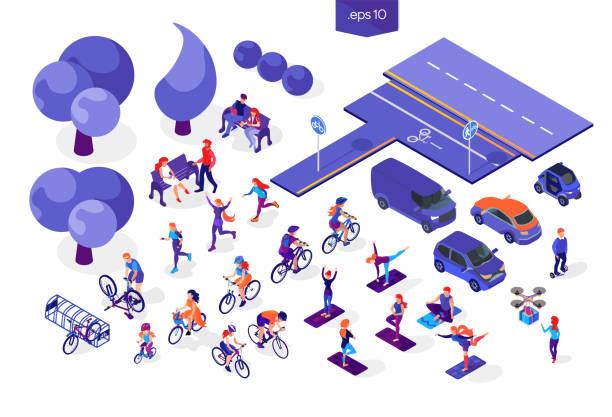 ilustrações, clipart, desenhos animados e ícones de vector isométrica plana as pessoas sobre um fundo branco. conjunto de atividades de esportes, ciclismo, correr, aulas de ioga, carros, árvores e estrada. homem na giroboard e mulher com o drone. casal apaixonado no banco do parque - carro mulher