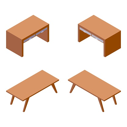 Vector isometric furniture collection. Various foreshortening of simple wooden table and chest of drawers, good for building hotel room interior design, indoors livingroom or cabinet furnishings.