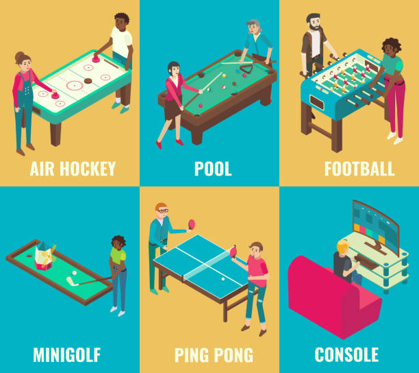 Vector isometric games set Vector isometric games set. Air hockey, pool, football, minigolf, ping pong and console design elements. Table games and video games concepts. ping pong table stock illustrations