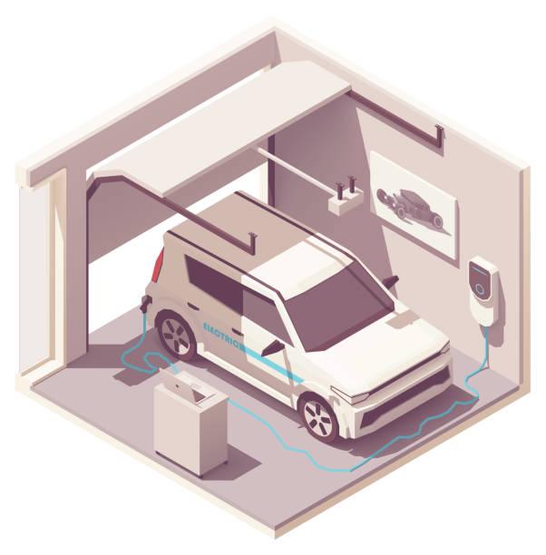 ilustrações de stock, clip art, desenhos animados e ícones de vector isometric garage and electric vehicle - house garage