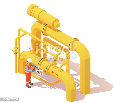 istock Vector isometric gas or oil production operator opens pipeline valve 1209677739