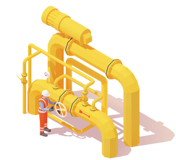 Vector isometric gas or oil production operator opens pipeline valve vector art illustration