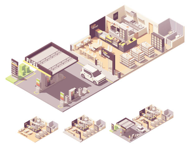 Vector isometric gas station interior Vector isometric gas filling station interior and exterior. Petrol and diesel fuel dispensers or pumps, convenience store, cafe or restaurant with kitchen, toilets station stock illustrations