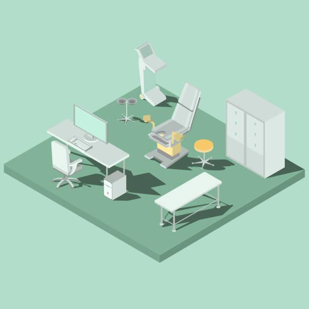 婦人科椅子、医療機器とベクトル等尺性婦人科室 - 診察室点のイラスト素材/クリップアート素材/マンガ素材/アイコン素材
