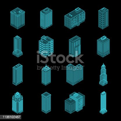 Vector Isometric Holography City Building Set. Vector Isometric City Building Icon Isolated on Black Background. Private House, Skyscraper, Real Estate, Public Building, Hotel.