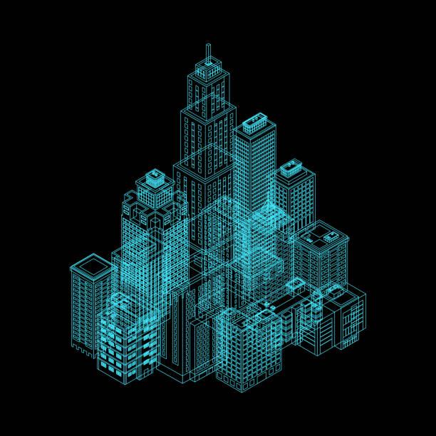 bildbanksillustrationer, clip art samt tecknat material och ikoner med vektor iso metrisk holografi city. - future city