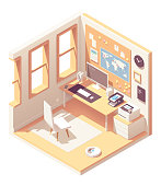 Vector isometric home office room cross-section with desk, document organizer, desktop pc, chair, printer and cork bulletin board on the wall over the table