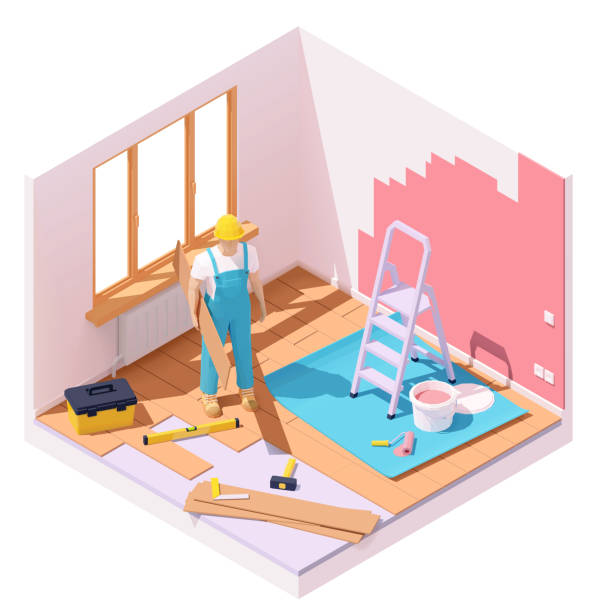 ilustrações de stock, clip art, desenhos animados e ícones de vector isometric home renovation - alter do chão