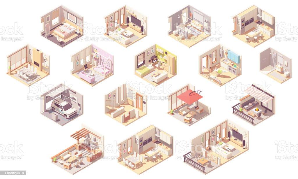 Vektor isometrisk hem rum - Royaltyfri Arkitektur vektorgrafik
