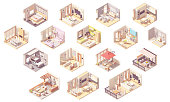 Vector isometric home rooms. Living room, bedroom, bathroom, balcony and terrace, hall, garage, dining and kitchen, pergola and other