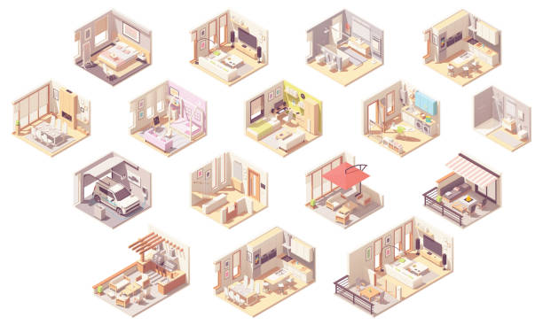 wektorowe izometryczne pokoje domowe - rzut izometryczny stock illustrations