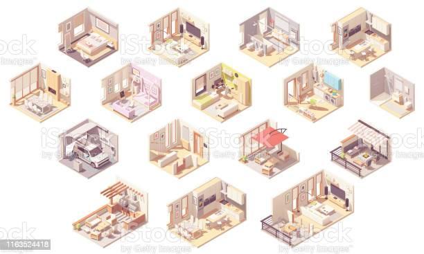 Vektor Isometrisk Hem Rum-vektorgrafik och fler bilder på Arkitektur