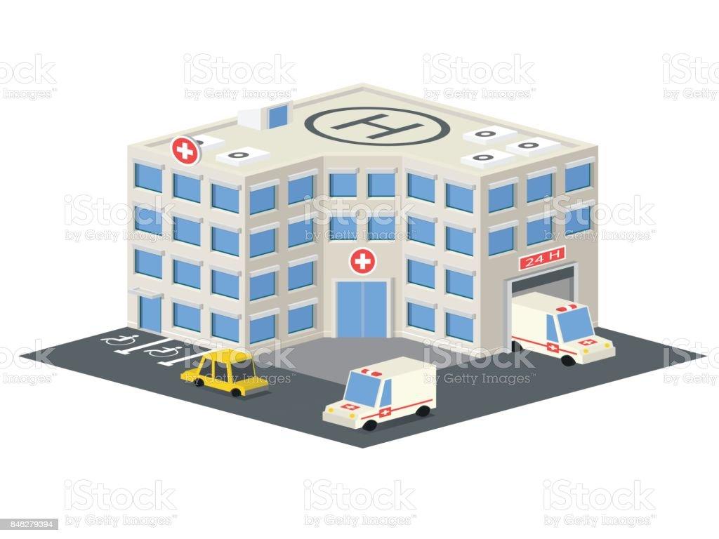 Hôpital icône de vecteur Isométrique bâtiment. - Illustration vectorielle